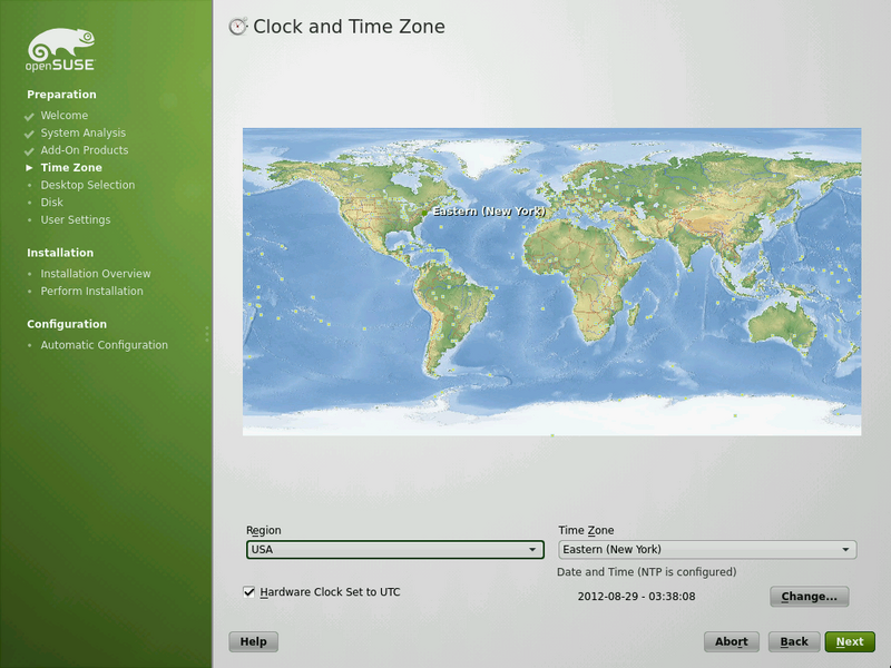 Time Zone ArchiveScreenshots 122 openSUSE