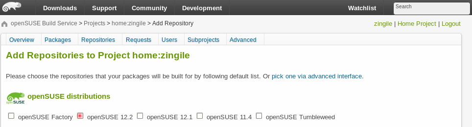 openSUSE OBS repositories