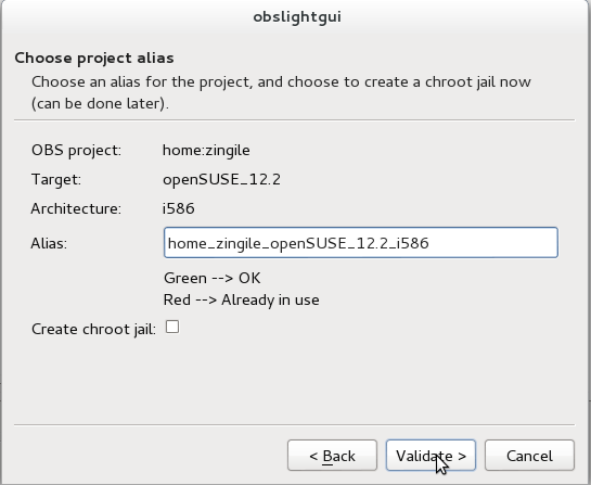 OBS Light GUI Project alias selection