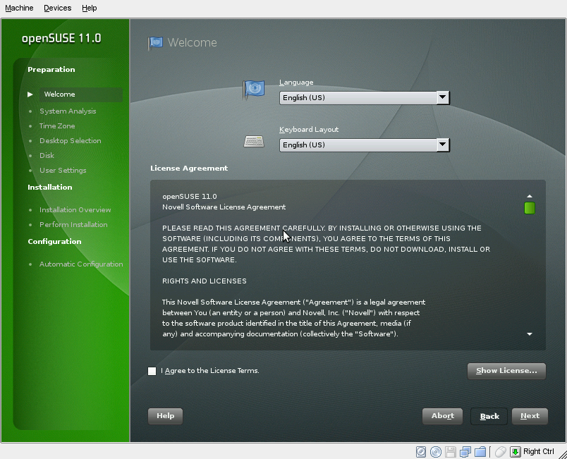 openSUSE 11.0 Installation Welcome Page