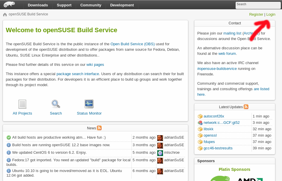 openSUSE OBS web interface