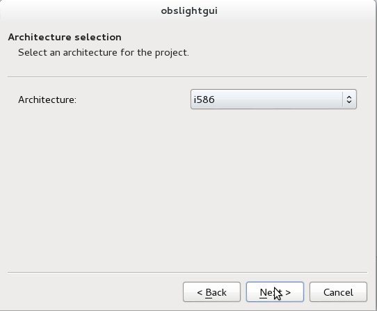 OBS Light GUI Architecture selection